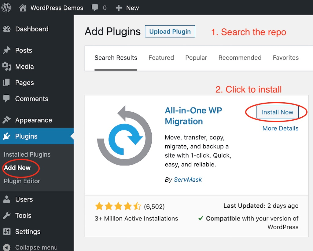 Install the All in one WP Migration plugin