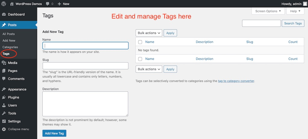 Add or manage tags screen