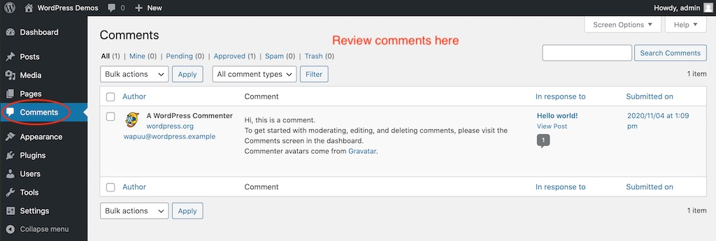 The Comments screen