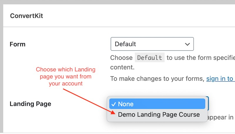 Choose the landing page