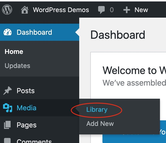 In your dashboard click on Media > Library