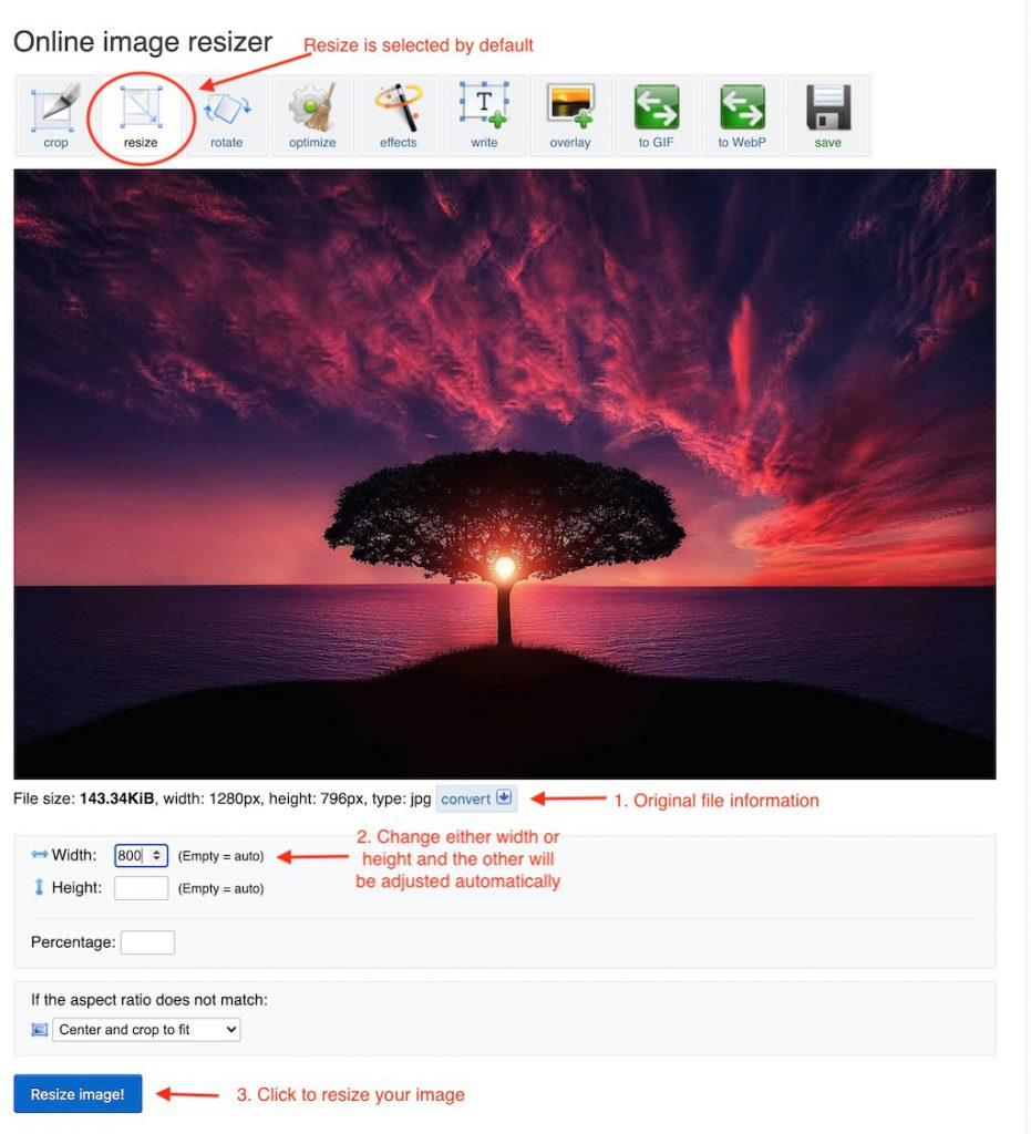 """Change width or height and click """"Resize image!"""""""