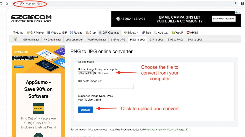 Online png to jpg conversion