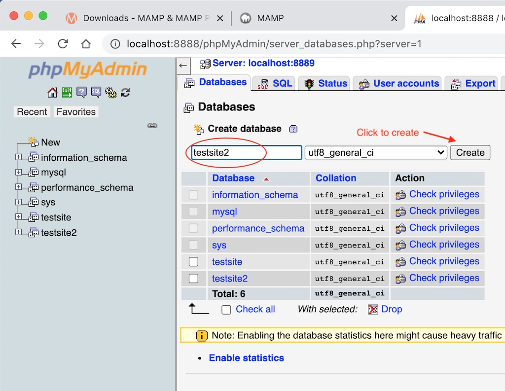 Create a new Database with PhpMyAdmin